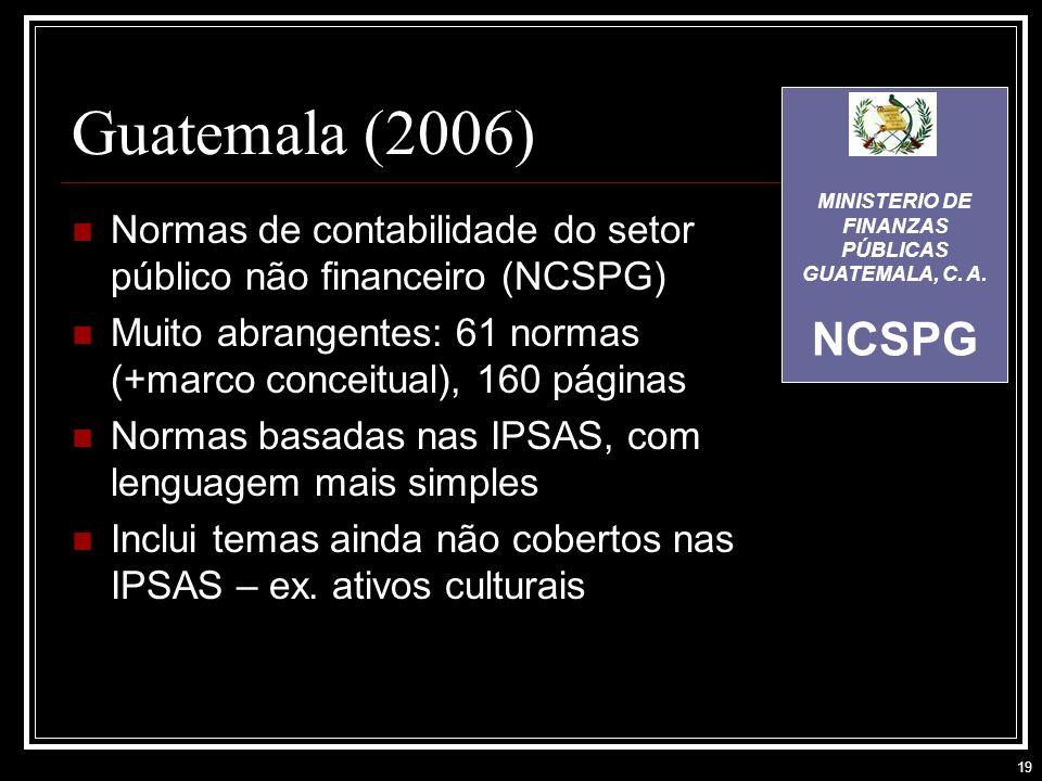 19 Guatemala (2006) Normas de contabilidade do setor público não financeiro (NCSPG) Muito abrangentes: 61 normas (+marco conceitual), 160 páginas Normas basadas nas IPSAS, com lenguagem mais simples Inclui temas ainda não cobertos nas IPSAS – ex.