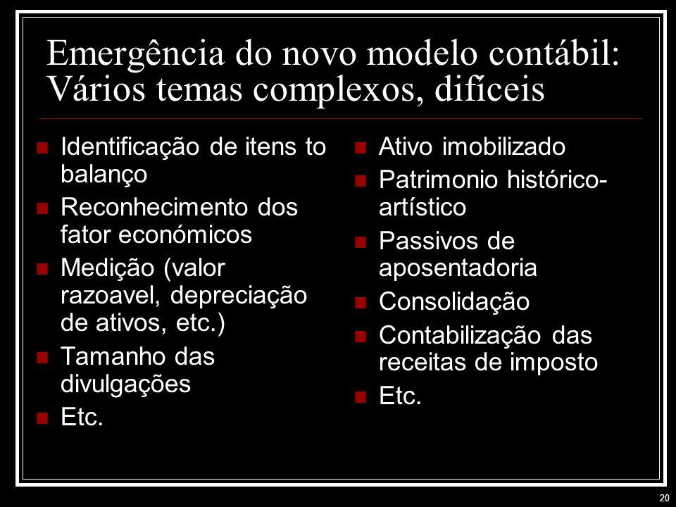 20 Emergência do novo modelo contábil: Vários temas complexos, difíceis Identificação de itens to balanço Reconhecimento dos fator económicos Medição (valor razoavel, depreciação de ativos, etc.) Tamanho das divulgações Etc.