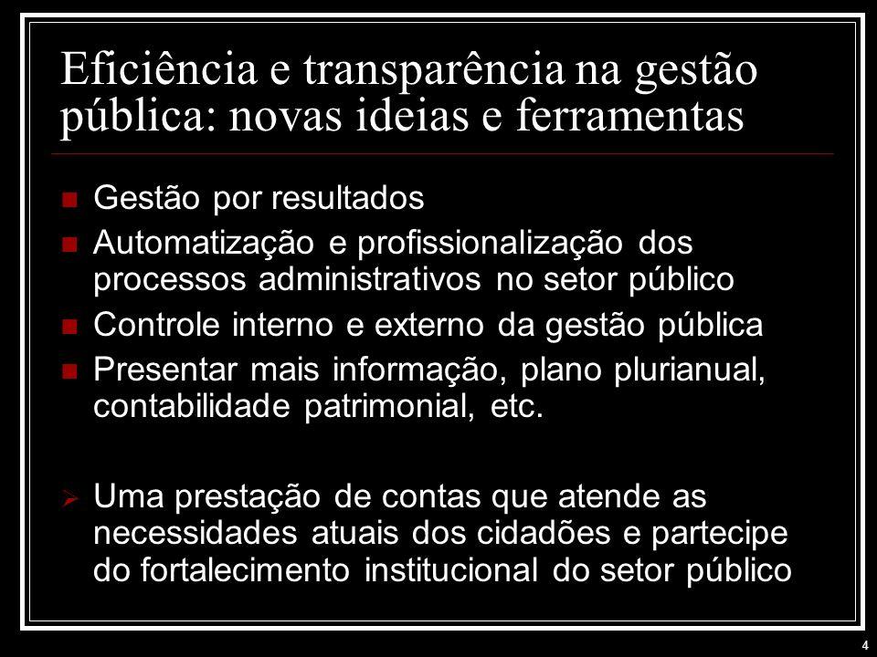 4 Gestão por resultados Automatização e profissionalização dos processos administrativos no setor público Controle interno e externo da gestão pública Presentar mais informação, plano plurianual, contabilidade patrimonial, etc.