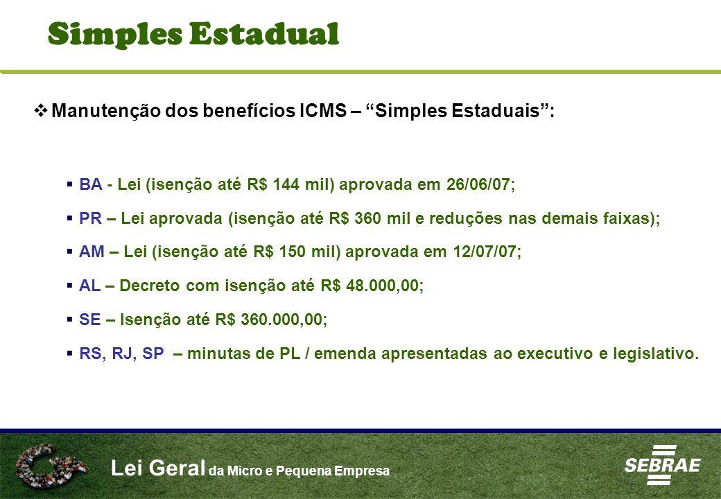 Lei Geral da Micro e Pequena Empresa Manutenção dos benefícios ICMS – Simples Estaduais: BA - Lei (isenção até R$ 144 mil) aprovada em 26/06/07; PR –