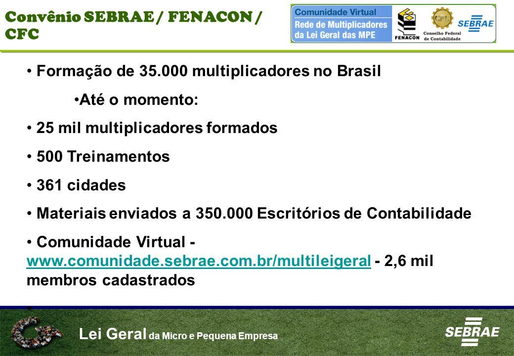 Lei Geral da Micro e Pequena Empresa Convênio SEBRAE / FENACON / CFC Formação de 35.000 multiplicadores no Brasil Até o momento: 25 mil multiplicadore