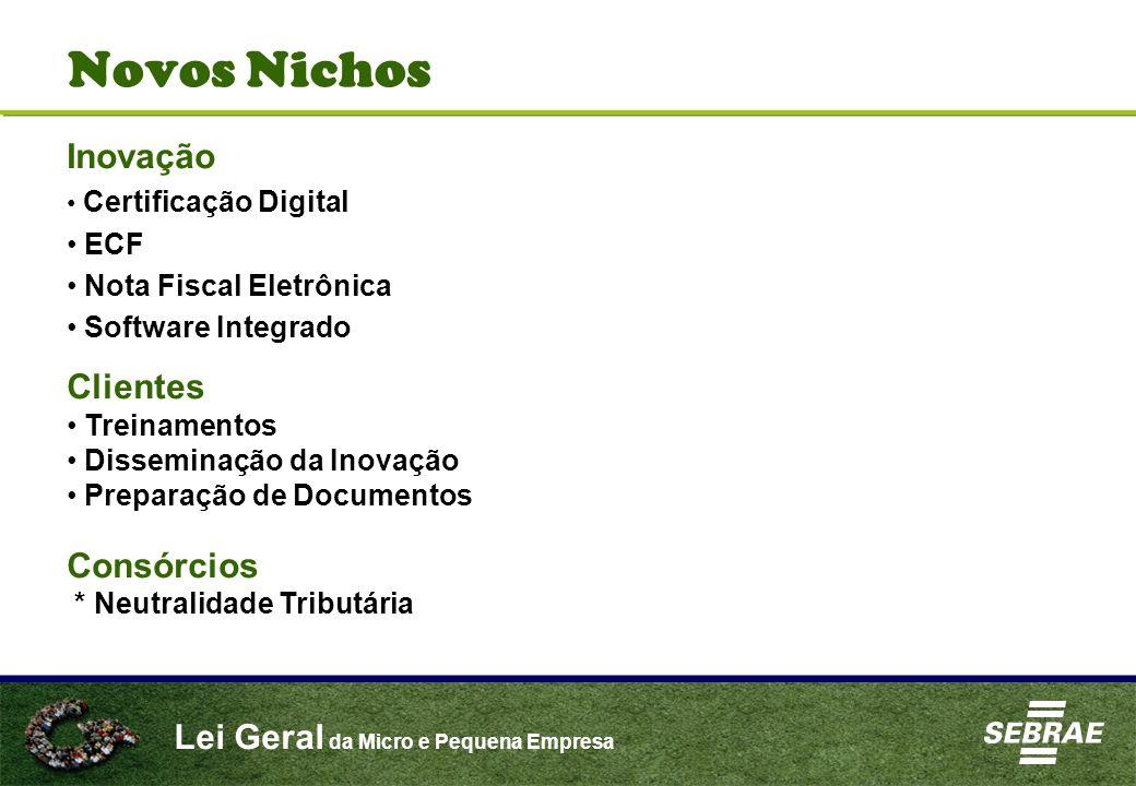 Lei Geral da Micro e Pequena Empresa Novos Nichos Inovação Certificação Digital ECF Nota Fiscal Eletrônica Software Integrado Clientes Treinamentos Di