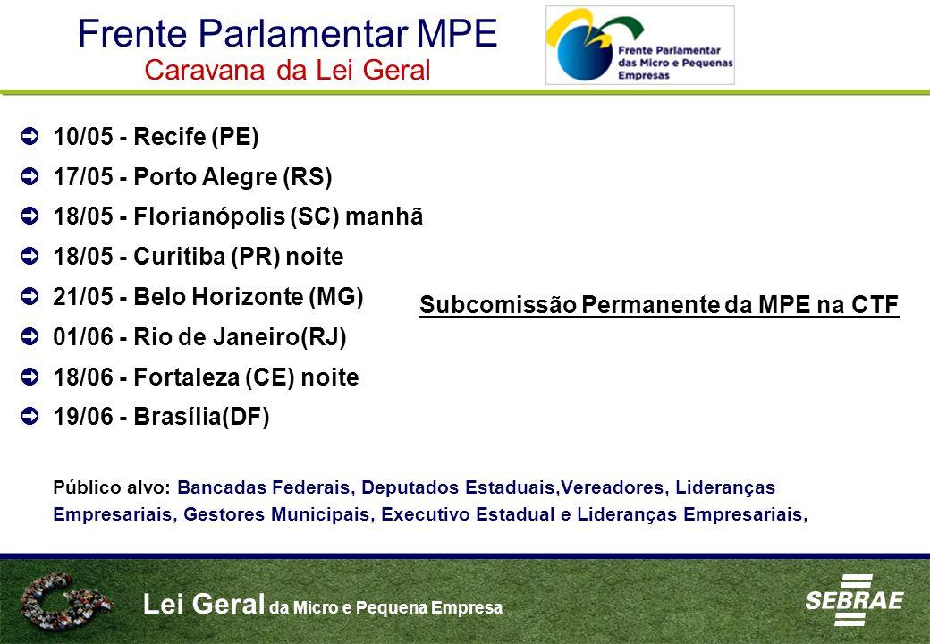 Lei Geral da Micro e Pequena Empresa 10/05 - Recife (PE) 17/05 - Porto Alegre (RS) 18/05 - Florianópolis (SC) manhã 18/05 - Curitiba (PR) noite 21/05