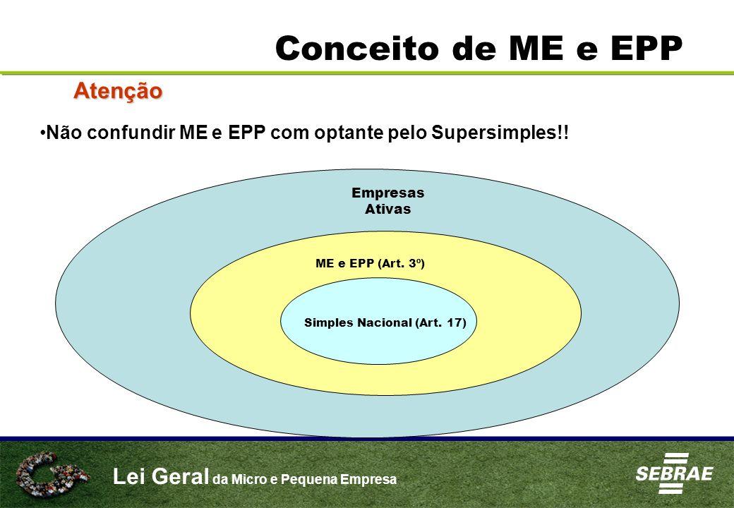 Lei Geral da Micro e Pequena Empresa Conceito de ME e EPP Atenção Não confundir ME e EPP com optante pelo Supersimples!! Empresas Ativas ME e EPP (Art