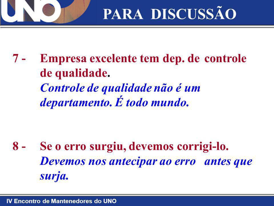 IV Encontro de Mantenedores do UNO PARA DISCUSSÃO 7 - Empresa excelente tem dep. de controle de qualidade. Controle de qualidade não é um departamento
