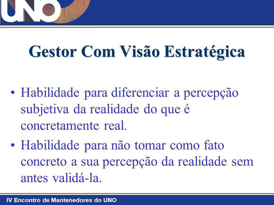 IV Encontro de Mantenedores do UNO Gestor Com Visão Estratégica Habilidade para diferenciar a percepção subjetiva da realidade do que é concretamente