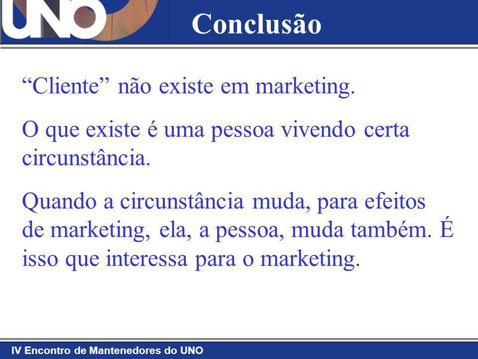 IV Encontro de Mantenedores do UNO Cliente não existe em marketing. O que existe é uma pessoa vivendo certa circunstância. Quando a circunstância muda