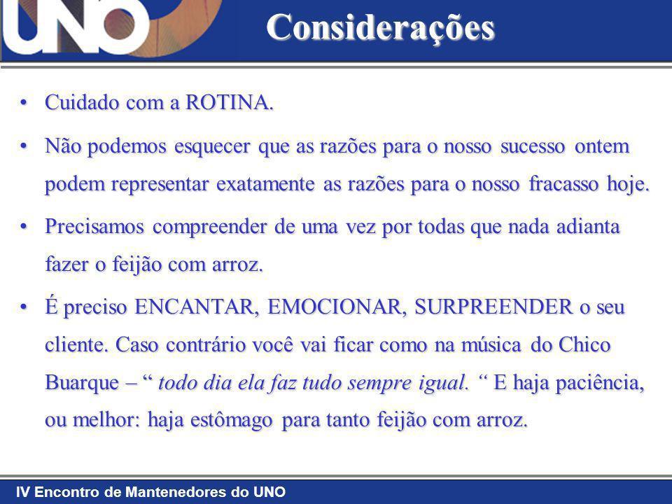 IV Encontro de Mantenedores do UNO Considerações Cuidado com a ROTINA.Cuidado com a ROTINA. Não podemos esquecer que as razões para o nosso sucesso on