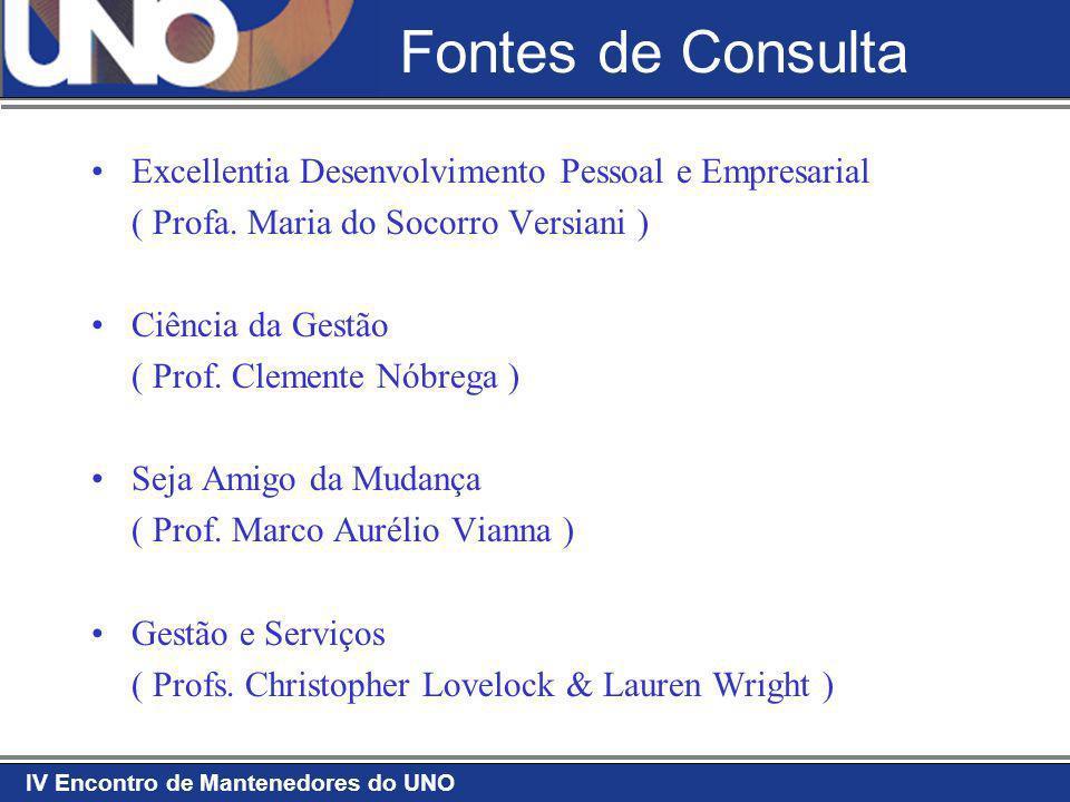 IV Encontro de Mantenedores do UNO Fontes de Consulta Excellentia Desenvolvimento Pessoal e Empresarial ( Profa. Maria do Socorro Versiani ) Ciência d
