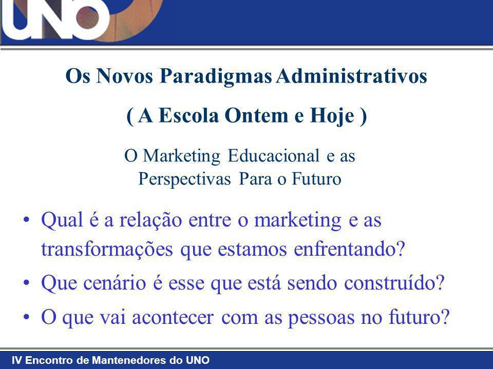 IV Encontro de Mantenedores do UNO O Marketing Educacional e as Perspectivas Para o Futuro O Futuro já está aí.