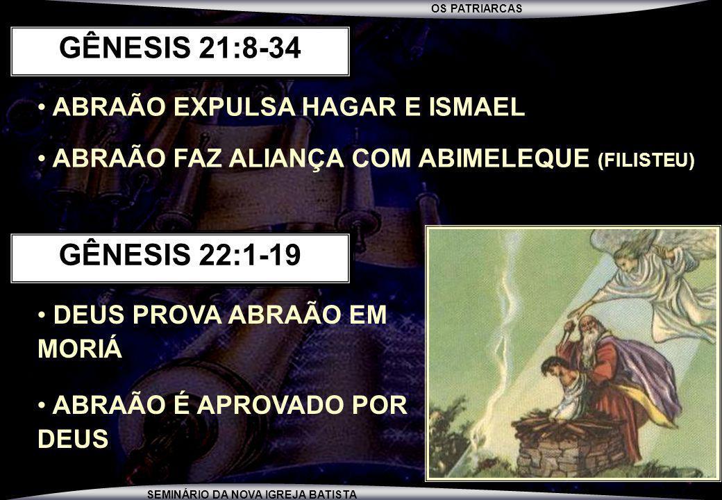OS PATRIARCAS SEMINÁRIO DA NOVA IGREJA BATISTA ABRAÃO EXPULSA HAGAR E ISMAEL ABRAÃO FAZ ALIANÇA COM ABIMELEQUE (FILISTEU) GÊNESIS 21:8-34 DEUS PROVA A