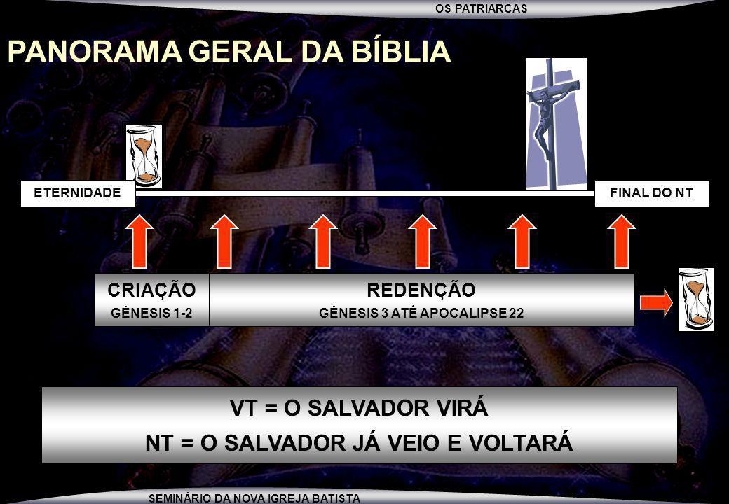 OS PATRIARCAS SEMINÁRIO DA NOVA IGREJA BATISTA PANORAMA GERAL DA BÍBLIA FINAL DO NTETERNIDADE CRIAÇÃO GÊNESIS 1-2 REDENÇÃO GÊNESIS 3 ATÉ APOCALIPSE 22