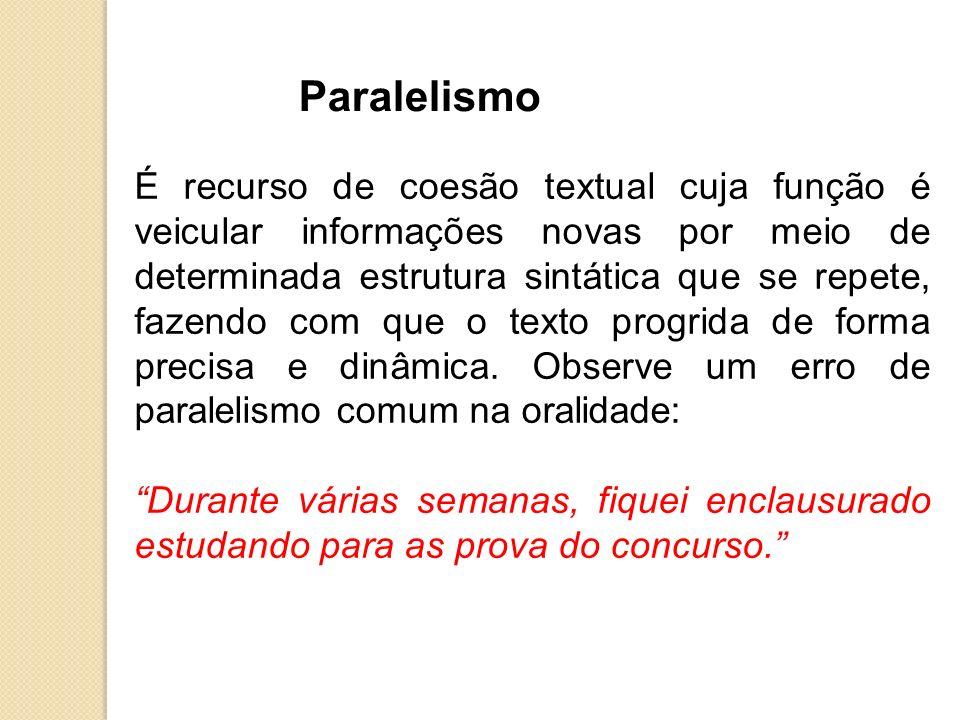 Paralelismo É recurso de coesão textual cuja função é veicular informações novas por meio de determinada estrutura sintática que se repete, fazendo co