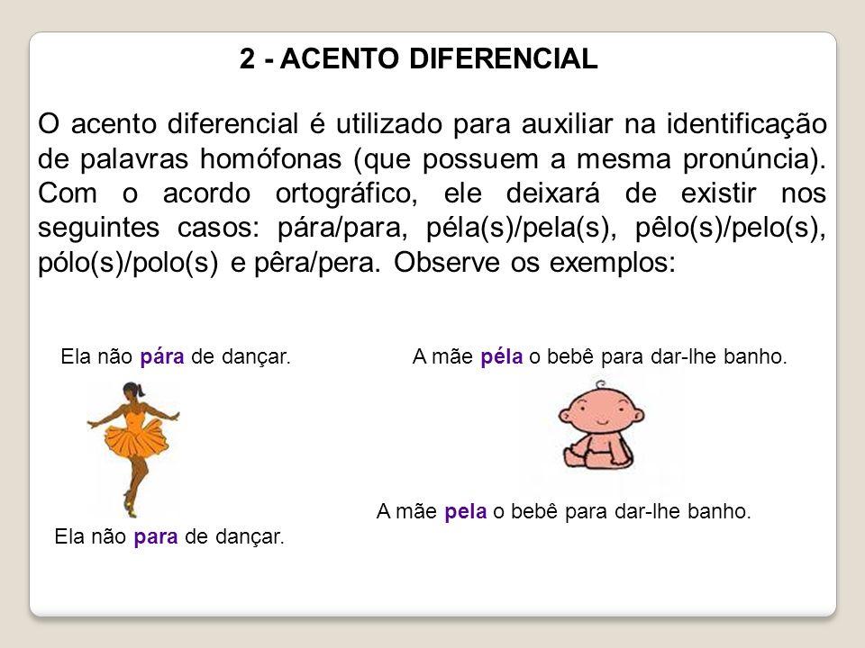 2 - ACENTO DIFERENCIAL O acento diferencial é utilizado para auxiliar na identificação de palavras homófonas (que possuem a mesma pronúncia). Com o ac