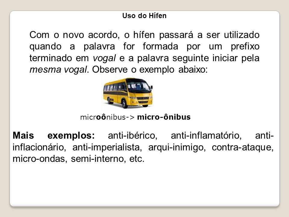 Uso do Hífen Com o novo acordo, o hífen passará a ser utilizado quando a palavra for formada por um prefixo terminado em vogal e a palavra seguinte in