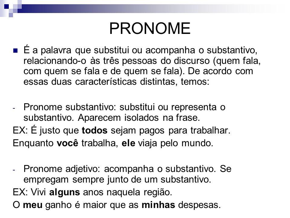 PRONOME É a palavra que substitui ou acompanha o substantivo, relacionando-o às três pessoas do discurso (quem fala, com quem se fala e de quem se fal