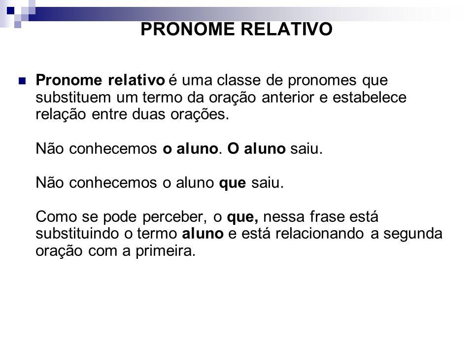 PRONOME RELATIVO Pronome relativo é uma classe de pronomes que substituem um termo da oração anterior e estabelece relação entre duas orações. Não con