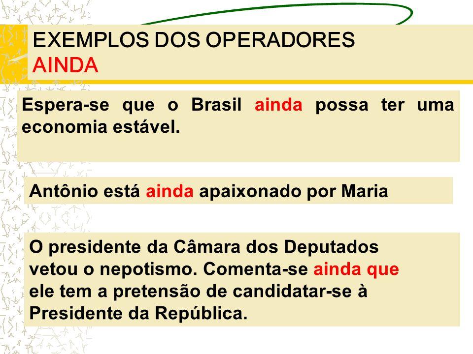 EXEMPLOS DOS OPERADORES AINDA Espera-se que o Brasil ainda possa ter uma economia estável. Antônio está ainda apaixonado por Maria O presidente da Câm