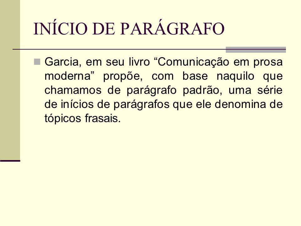 INÍCIO DE PARÁGRAFO Garcia, em seu livro Comunicação em prosa moderna propõe, com base naquilo que chamamos de parágrafo padrão, uma série de inícios