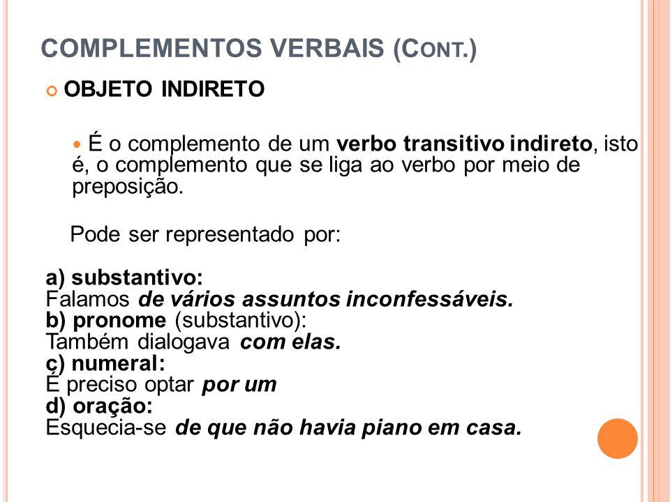 COMPLEMENTOS VERBAIS (C ONT.) OBJETO INDIRETO É o complemento de um verbo transitivo indireto, isto é, o complemento que se liga ao verbo por meio de