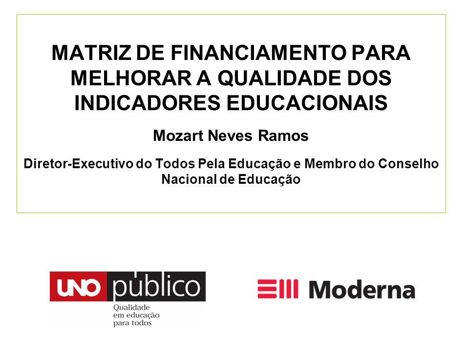 MATRIZ DE FINANCIAMENTO PARA MELHORAR A QUALIDADE DOS INDICADORES EDUCACIONAIS Mozart Neves Ramos Diretor-Executivo do Todos Pela Educação e Membro do