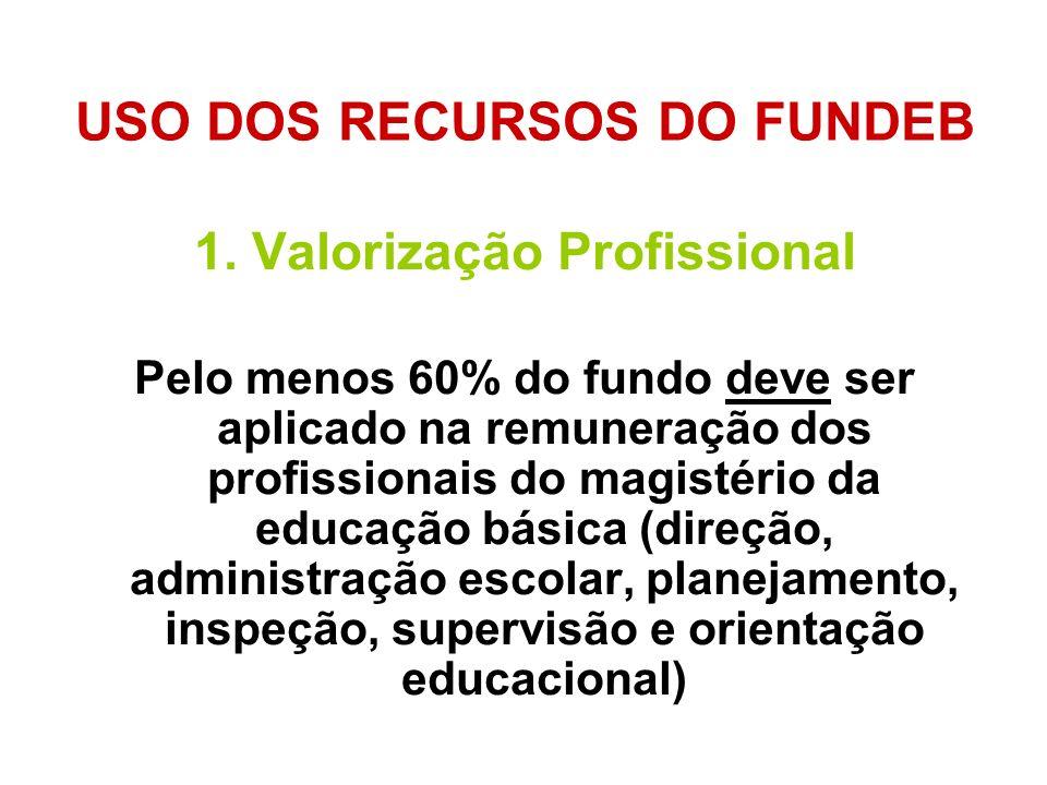 USO DOS RECURSOS DO FUNDEB 1. Valorização Profissional Pelo menos 60% do fundo deve ser aplicado na remuneração dos profissionais do magistério da edu