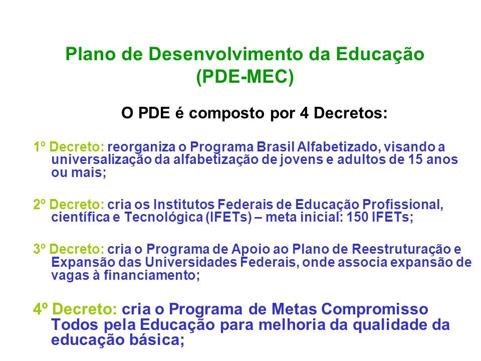 Plano de Desenvolvimento da Educação (PDE-MEC) O PDE é composto por 4 Decretos: 1º Decreto: reorganiza o Programa Brasil Alfabetizado, visando a unive