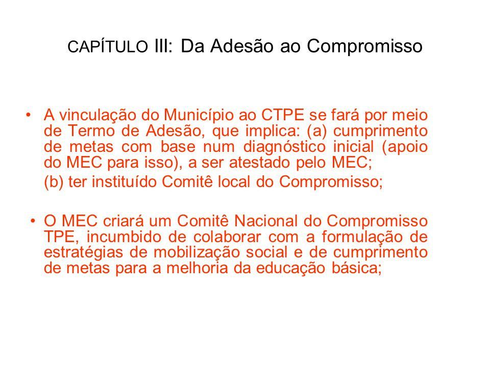 CAPÍTULO III: Da Adesão ao Compromisso A vinculação do Município ao CTPE se fará por meio de Termo de Adesão, que implica: (a) cumprimento de metas co