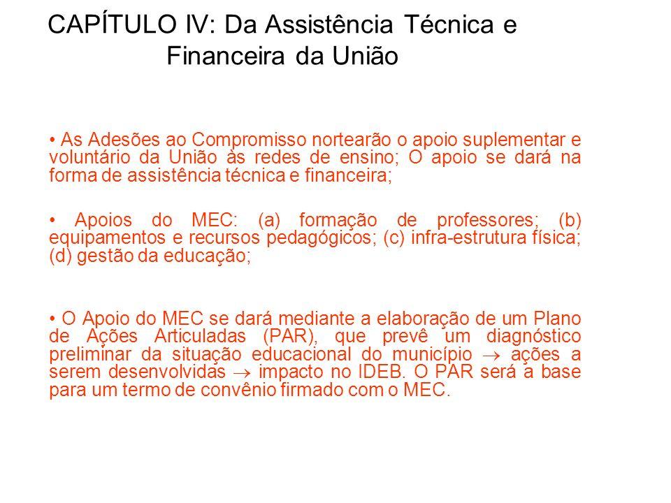 CAPÍTULO IV: Da Assistência Técnica e Financeira da União As Adesões ao Compromisso nortearão o apoio suplementar e voluntário da União às redes de en