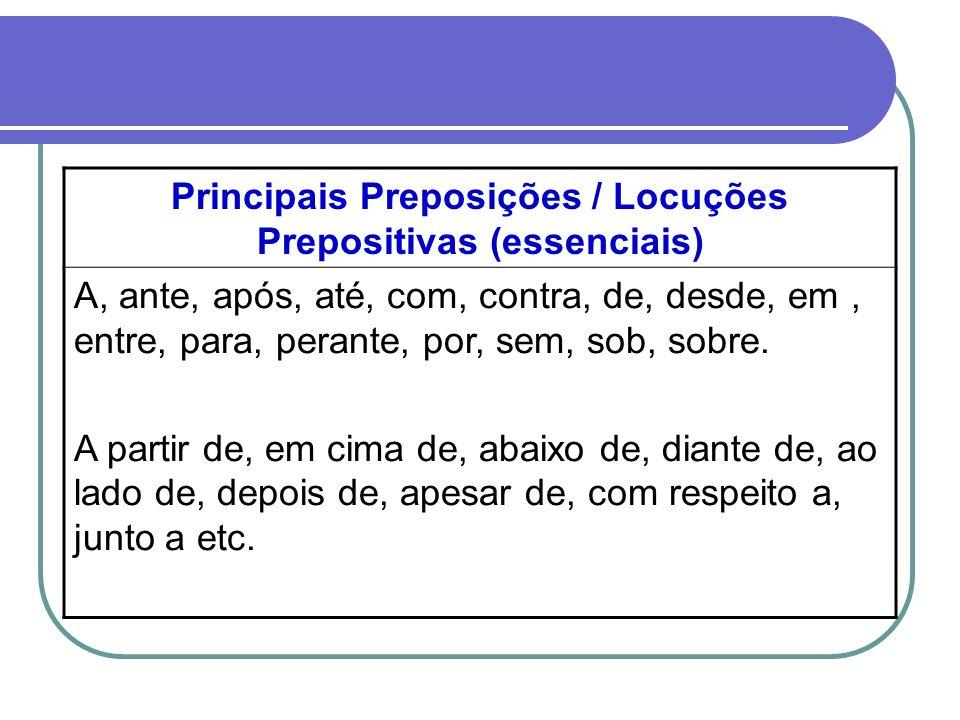 Principais Preposições / Locuções Prepositivas (essenciais) A, ante, após, até, com, contra, de, desde, em, entre, para, perante, por, sem, sob, sobre