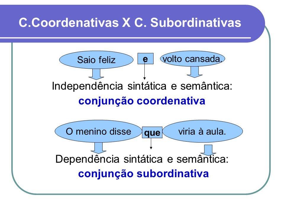 C.Coordenativas X C. Subordinativas e Independência sintática e semântica: conjunção coordenativa O menino disse que viria à aula. Dependência sintáti