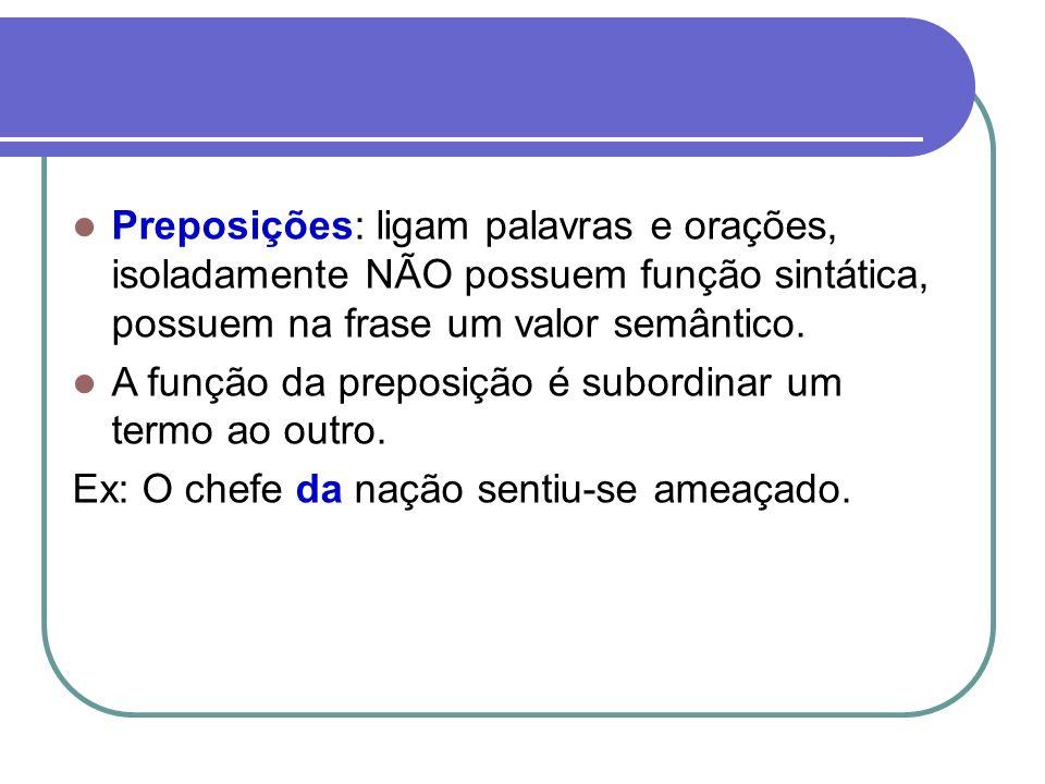 Preposição Semântica das preposições / locuções prepositivas: Gramática Normativa: preposições são vazias de sentido.
