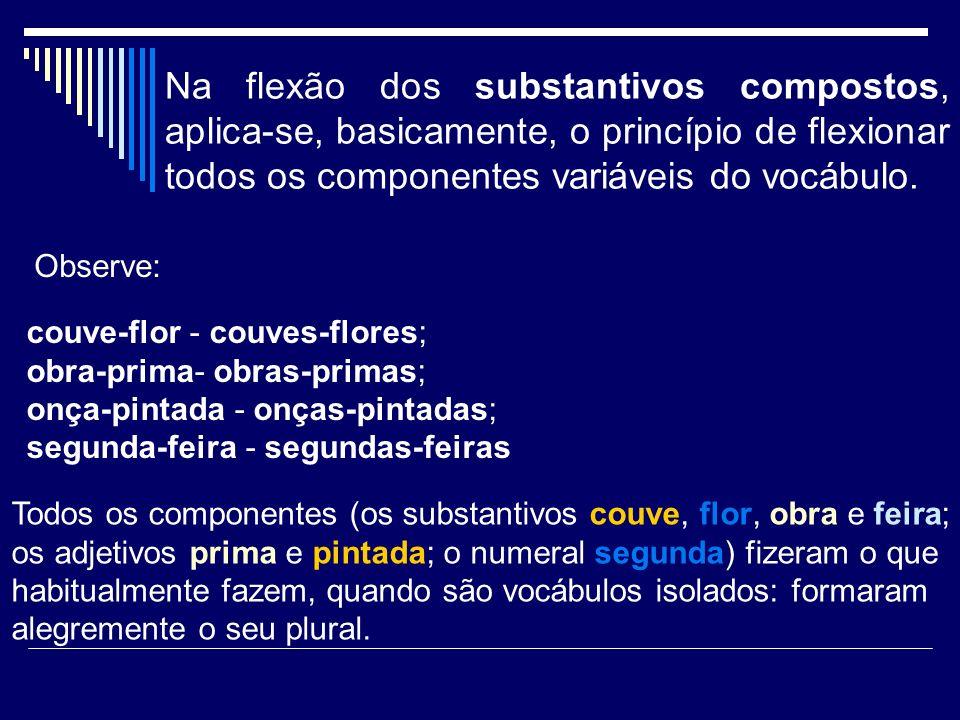 Na flexão dos substantivos compostos, aplica-se, basicamente, o princípio de flexionar todos os componentes variáveis do vocábulo. couve-flor - couves