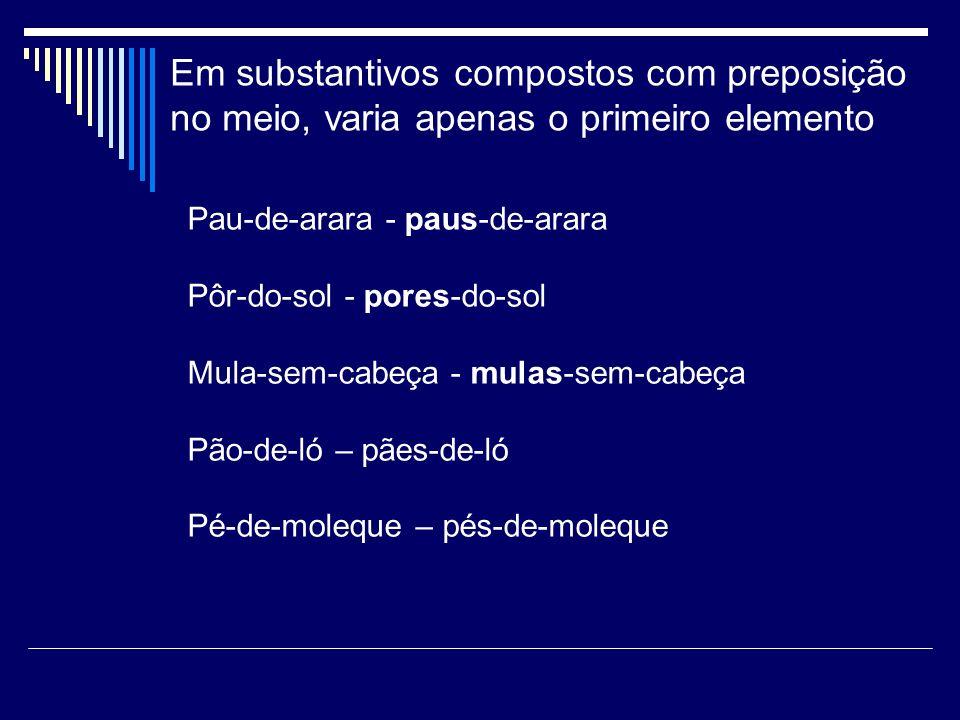 Em substantivos compostos com preposição no meio, varia apenas o primeiro elemento Pau-de-arara - paus-de-arara Pôr-do-sol - pores-do-sol Mula-sem-cab
