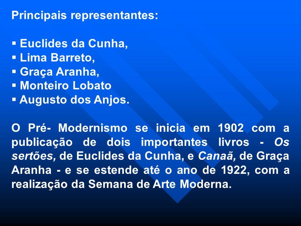 Principais representantes: Euclides da Cunha, Lima Barreto, Graça Aranha, Monteiro Lobato Augusto dos Anjos. O Pré- Modernismo se inicia em 1902 com a