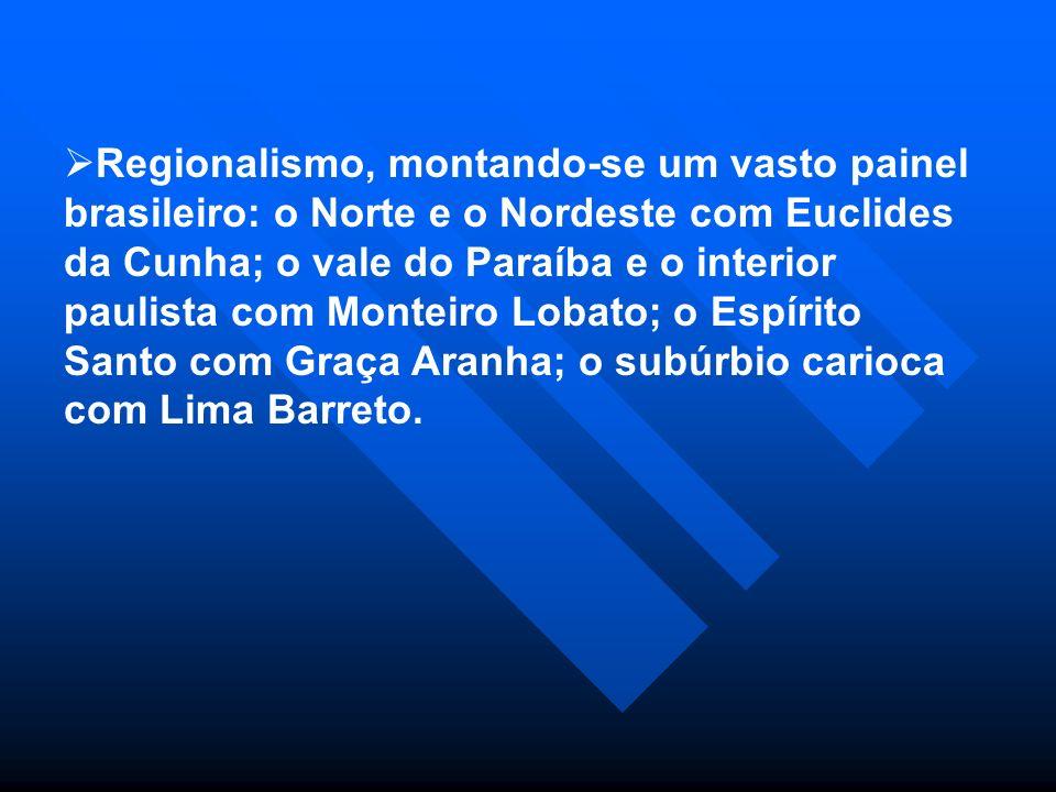 Regionalismo, montando-se um vasto painel brasileiro: o Norte e o Nordeste com Euclides da Cunha; o vale do Paraíba e o interior paulista com Monteiro