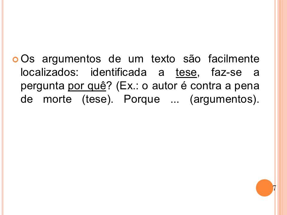 Os argumentos de um texto são facilmente localizados: identificada a tese, faz-se a pergunta por quê? (Ex.: o autor é contra a pena de morte (tese). P