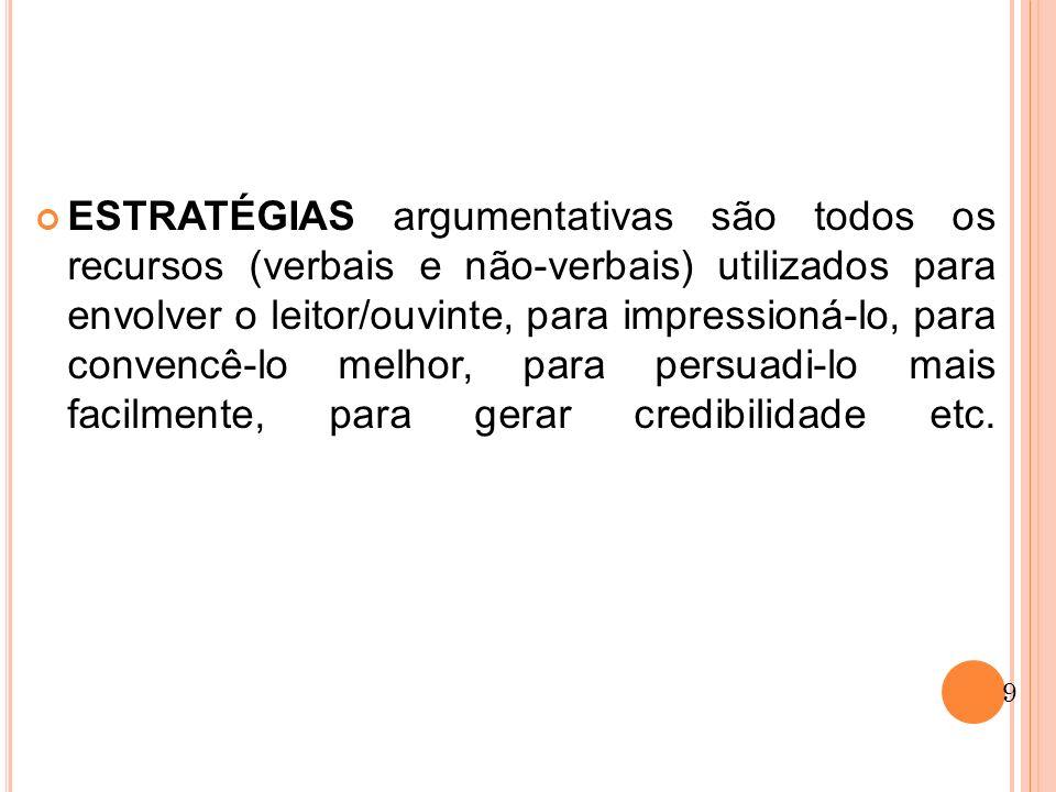ESTRATÉGIAS argumentativas são todos os recursos (verbais e não-verbais) utilizados para envolver o leitor/ouvinte, para impressioná-lo, para convencê