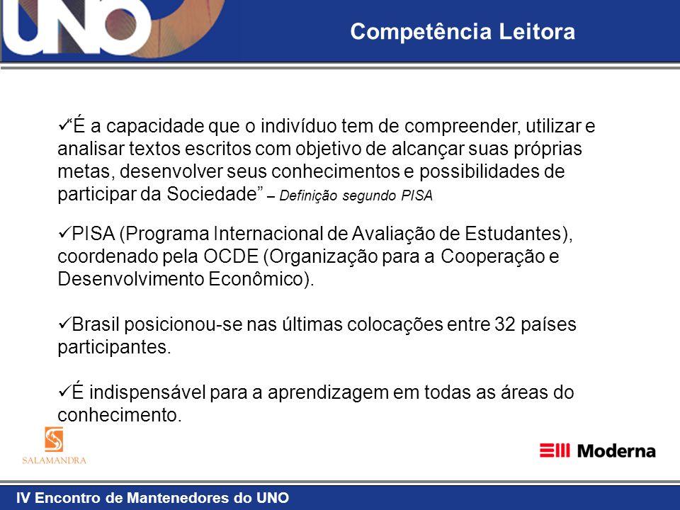 IV Encontro de Mantenedores do UNO Competência Leitora É a capacidade que o indivíduo tem de compreender, utilizar e analisar textos escritos com obje