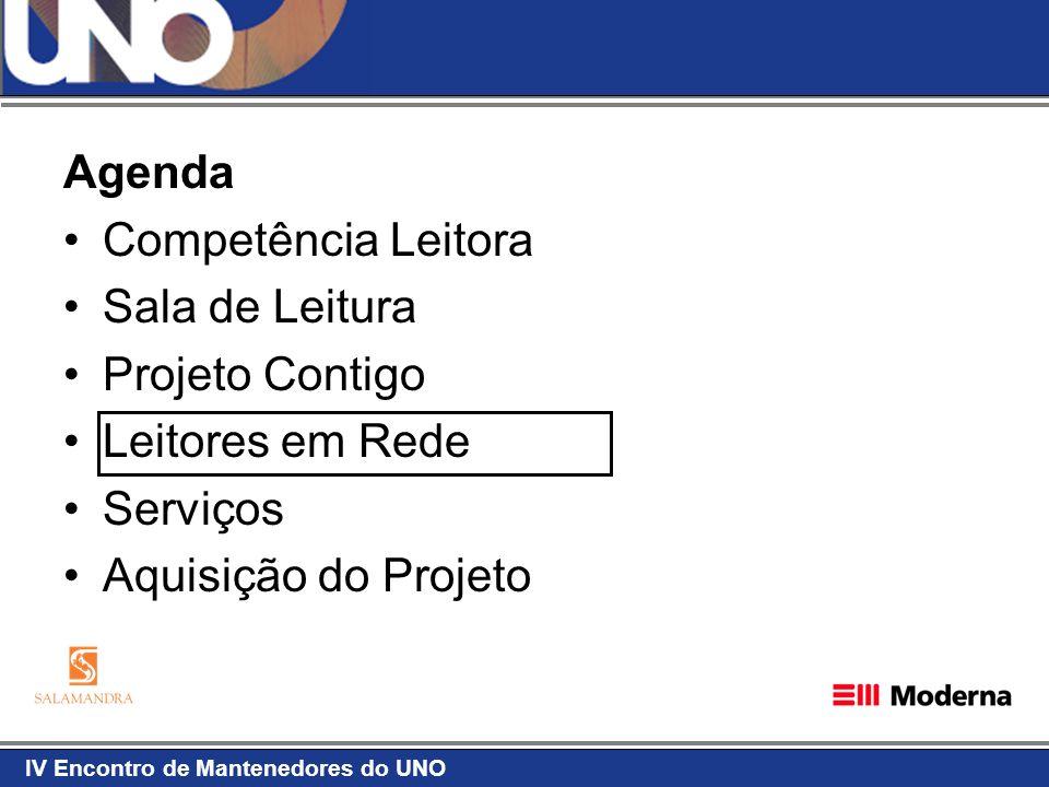 IV Encontro de Mantenedores do UNO Agenda Competência Leitora Sala de Leitura Projeto Contigo Leitores em Rede Serviços Aquisição do Projeto