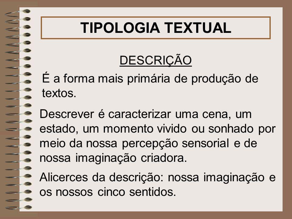 TIPOLOGIA TEXTUAL DESCRIÇÃO É a forma mais primária de produção de textos. Alicerces da descrição: nossa imaginação e os nossos cinco sentidos. Descre