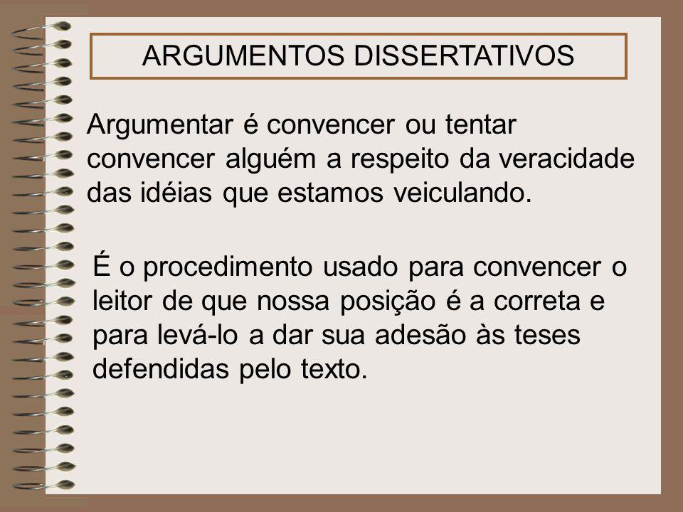 ARGUMENTOS DISSERTATIVOS Argumentar é convencer ou tentar convencer alguém a respeito da veracidade das idéias que estamos veiculando. É o procediment