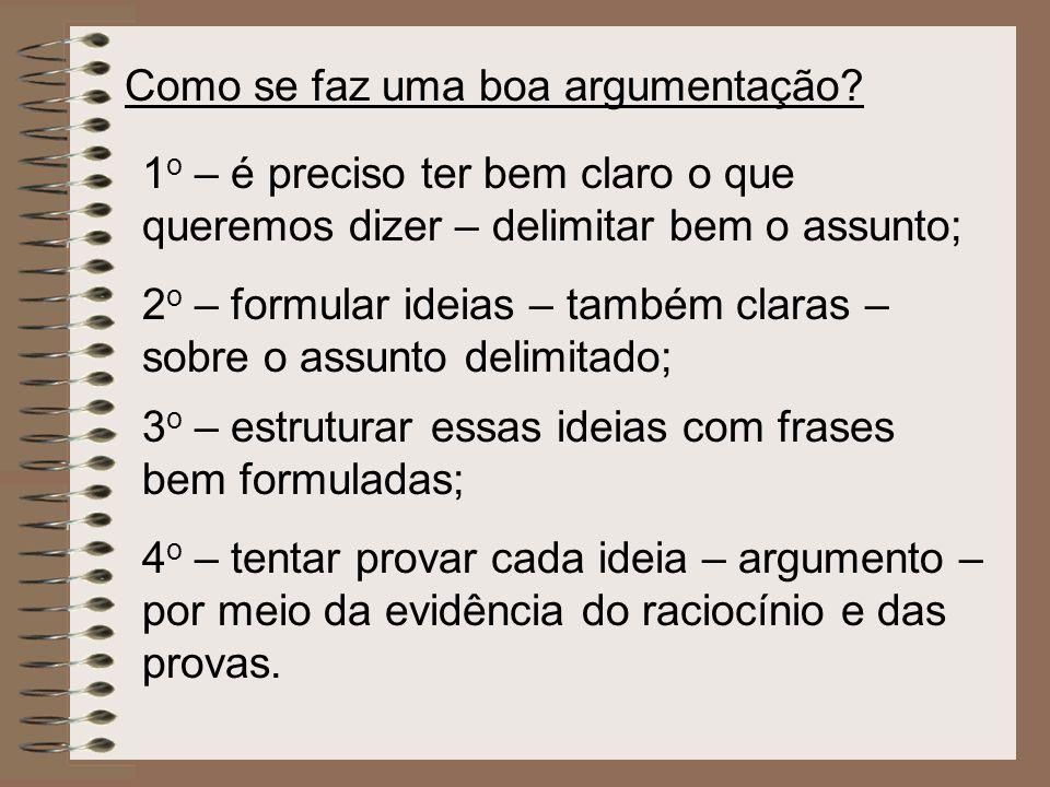 Como se faz uma boa argumentação? 1 o – é preciso ter bem claro o que queremos dizer – delimitar bem o assunto; 2 o – formular ideias – também claras