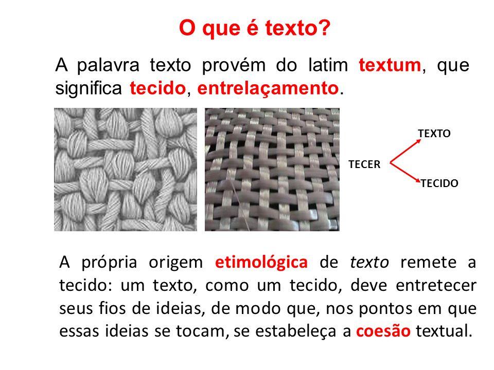 O que é texto? A palavra texto provém do latim textum, que significa tecido, entrelaçamento. A própria origem etimológica de texto remete a tecido: um
