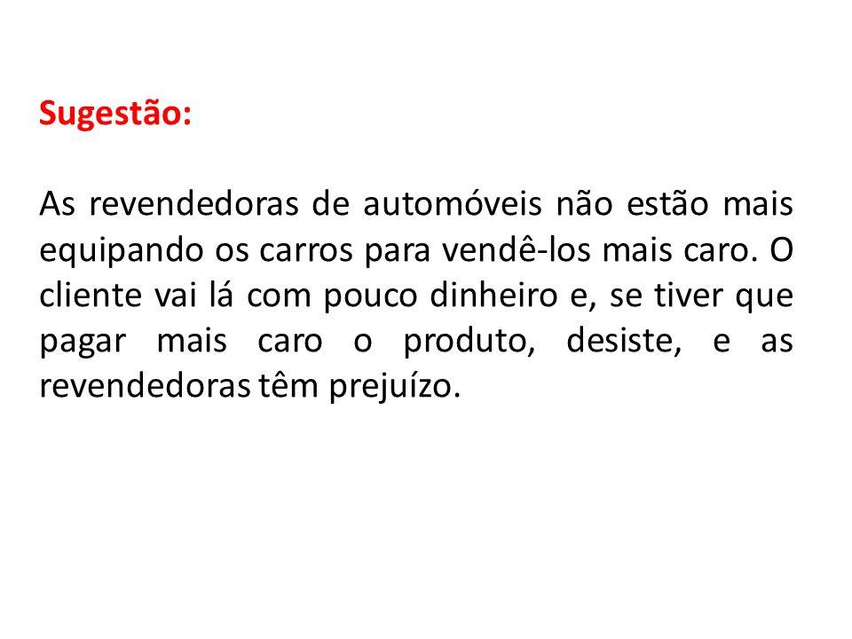 Sugestão: As revendedoras de automóveis não estão mais equipando os carros para vendê-los mais caro. O cliente vai lá com pouco dinheiro e, se tiver q
