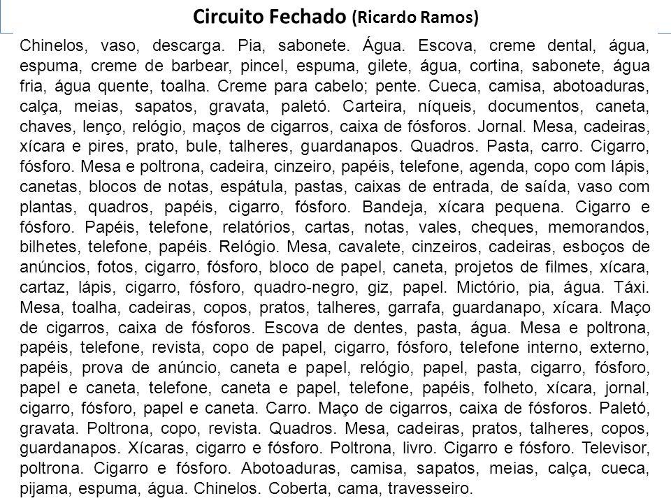 Circuito Fechado (Ricardo Ramos) Chinelos, vaso, descarga. Pia, sabonete. Água. Escova, creme dental, água, espuma, creme de barbear, pincel, espuma,
