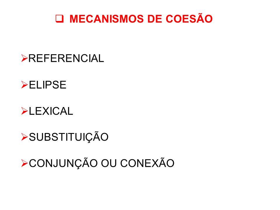 MECANISMOS DE COESÃO REFERENCIAL ELIPSE LEXICAL SUBSTITUIÇÃO CONJUNÇÃO OU CONEXÃO