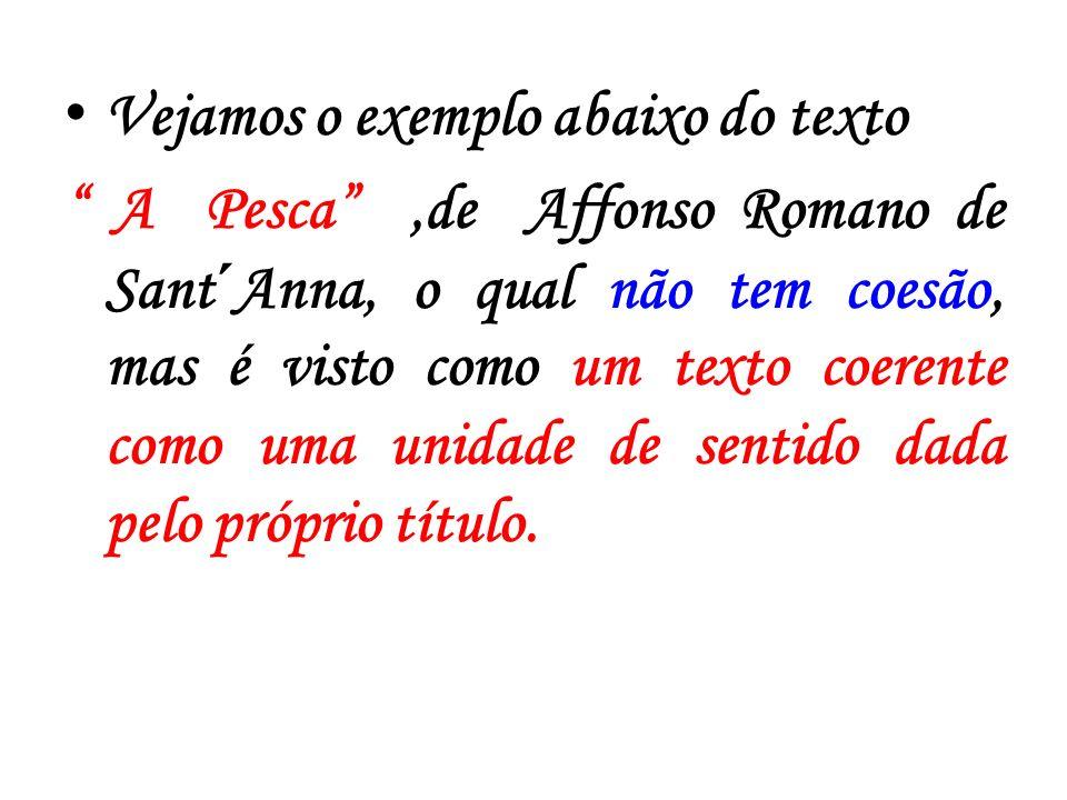 Vejamos o exemplo abaixo do texto A Pesca,de Affonso Romano de Sant´Anna, o qual não tem coesão, mas é visto como um texto coerente como uma unidade d