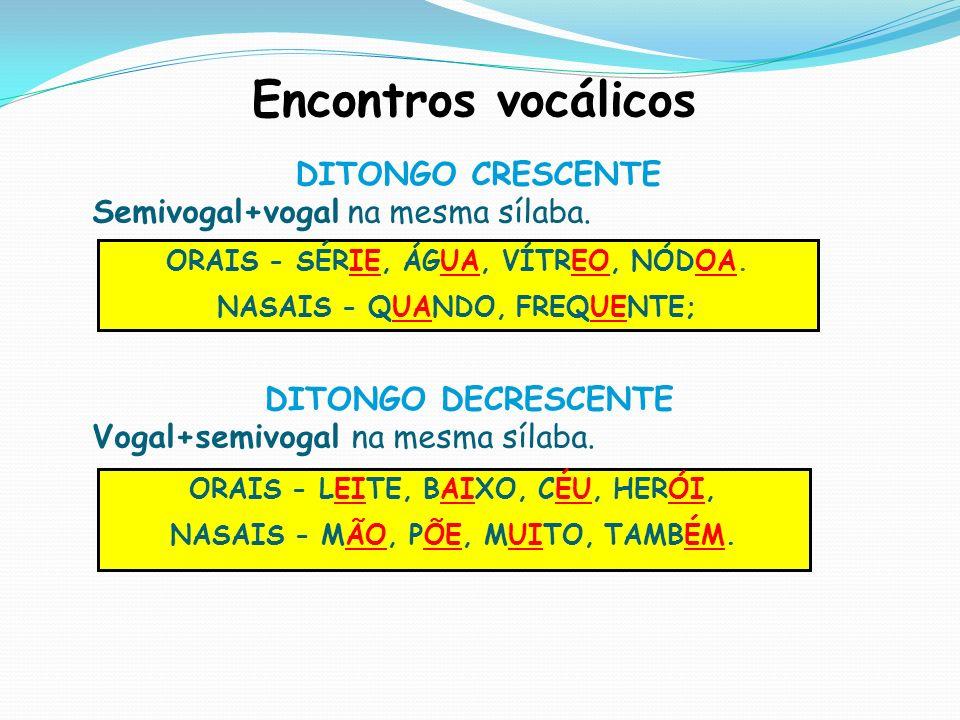 Encontros vocálicos DITONGO CRESCENTE Semivogal+vogal na mesma sílaba. DITONGO DECRESCENTE Vogal+semivogal na mesma sílaba. ORAIS - SÉRIE, ÁGUA, VÍTRE
