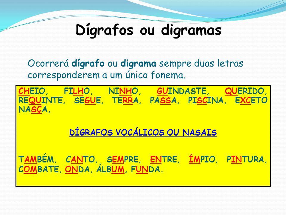 Dígrafos ou digramas Ocorrerá dígrafo ou digrama sempre duas letras corresponderem a um único fonema. CHEIO, FILHO, NINHO, GUINDASTE, QUERIDO, REQUINT